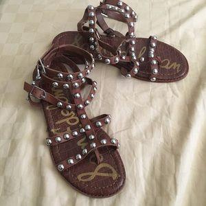 Sam Edelman Bohemian studded brown ankle sandals